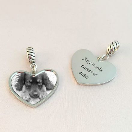 Pet Loss Charm with Engraving, Sterling Silver
